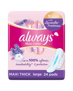 ALWAYS COTTON SOFT SANITARY PADS WITH WINGS, LARGE, 24 COUNT
