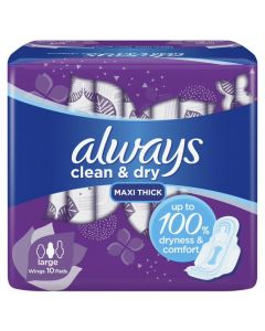 ALWAYS DRY AND COMFORT SANITARY PADS, LARGE, 10 COUNT