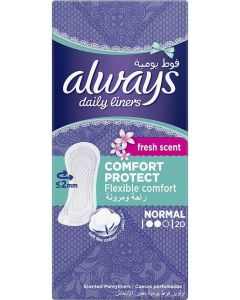 ALWAYS DAILY LINERS COMFORT PROTECT NORMAL FRESH SCENT 20 COUNT