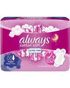 ALWAYS ULTRA COTTON SOFT NIGHT SANITARY PADS, 7 COUNT
