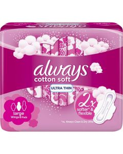 ALWAYS ULTRA-THIN LONG SANITARY PADS, 8 COUNT