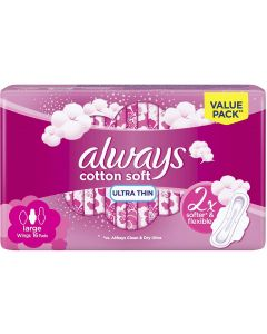 ALWAYS ULTRA COTTON SOFT LONG SANITARY PADS, 16 COUNT