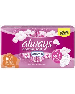 ALWAYS ULTRA COTTON SOFT NORMAL SANITARY PADS, 20 COUNT