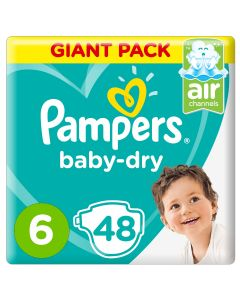 Pampers Baby-Dry Diapers, Size 6, Extra Large, 13+kg, Giant Pack, 48 count