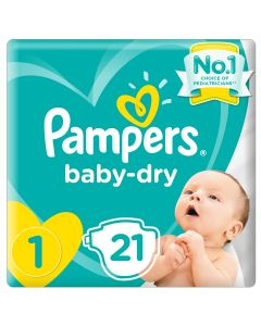 Pampers New Baby-Dry Diapers, Size 1,Newborn,2-5kg, Carry Pack,21 count