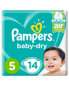 Pampers Baby-Dry Diapers,Size 5, Junior,11-16kg, Carry Pack,14 COUNT