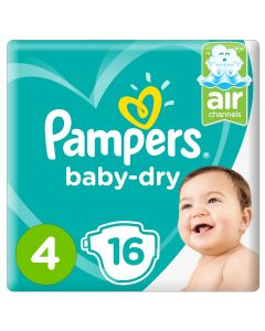 Pampers Baby-Dry Diapers, Size 4,Maxi, 9-14kg,Carry Pack,16 count