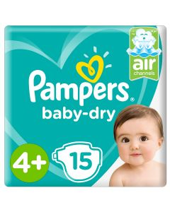 Pampers Baby-Dry Diapers,Size 4+, Maxi+,10-15kg,Carry Pack,15 count