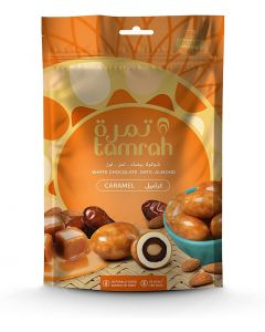 Tamrah white chocolate & caramel covered dates with almond