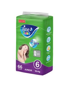Fine Baby Diapers, Size 6, Junior 16+ kg, Mega Pack of 66 diapers