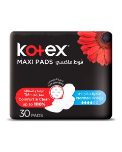 KOTEX MAXI PADS NORMAL WITH WINGS 30 SANITARY PADS