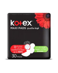 KOTEX MAXI PADS SUPER WITH WINGS 30 SANITARY PADS