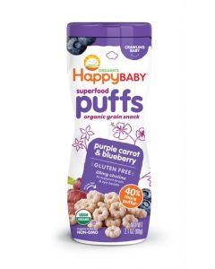 Happy Baby Organic Purple Carrot & Blueberry, Fortified Baby Snacks , 60gm