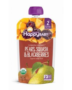 Happy Baby Organic Stage 2 Baby Food, Pears, Squash & Blackberries 113 GM