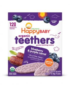 Happy Baby Stage 1 Organic Teething Wafers, Blueberry, Purple Carrot, Soothing Rice, Gluten-Free, 48 gM
