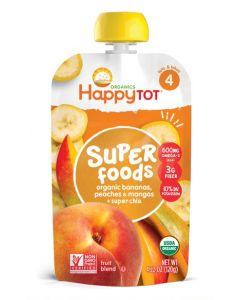 Happy Tot Organic, Banana, Peaches and Mango + Super Chia, Non-GMO, Gluten Free,120 gm
