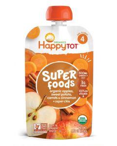 Happy Tot Organic Stage 4 Apples, Carrots & Cinnamon Non-GMO, Gluten Free,120 gm