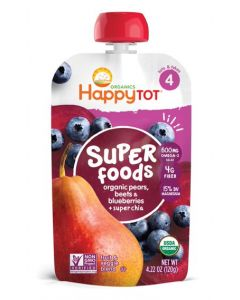Happy Tot Organic Stage 4 Pears Blueberries & Beets + Super Chia, 120 GM