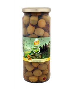 SUPER CHEF GREEN OLIVES STUFFED WITH PIMENTO 450 GM