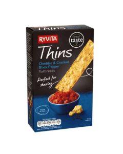 Ryvita Cheddar and Cracked Black Pepper Flatbreads 125 gms